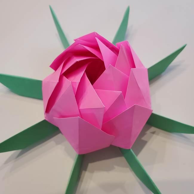 折り紙の蓮(ハス)の花☆立体的な作り方折り方③完成(22)