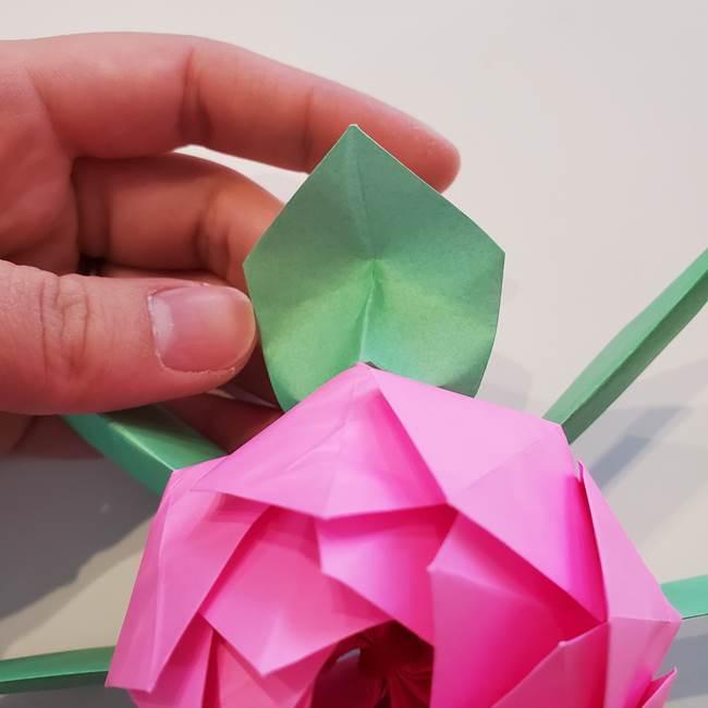 折り紙の蓮(ハス)の花☆立体的な作り方折り方③完成(24)