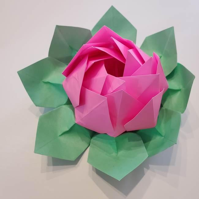 折り紙の蓮(ハス)の花☆立体的な作り方折り方☆葉っぱつきでかわいい!