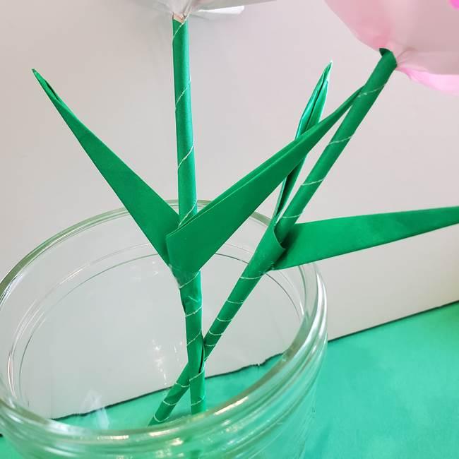 折り紙「カーネーションの葉っぱ」の折り方作り方②組み合わせ(16)