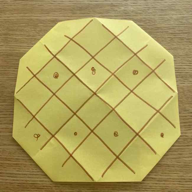 折り紙 パイナップルの簡単な作り方(実の折り方 (10)