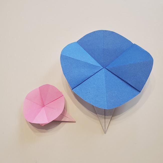 朝顔の折り紙の作り方は簡単♪幼児でもつくれるから幼稚園制作にも♪