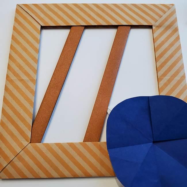 朝顔の折り紙の壁画フレームの作り方③飾り方(2)
