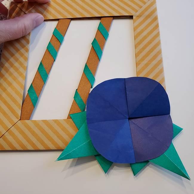 朝顔の折り紙の壁画フレームの作り方③飾り方(4)