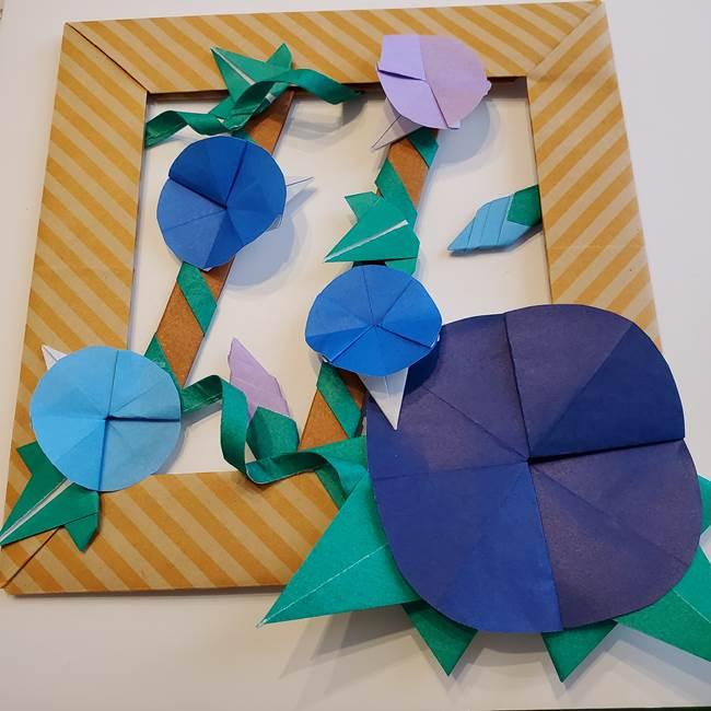 朝顔の折り紙の壁画フレームの作り方③飾り方(5)