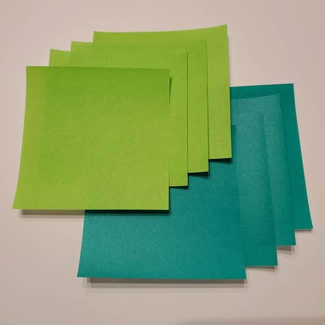 朝顔の折り紙リースは高齢者の7月壁面制作にも☆用意するもの(1)