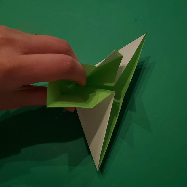 朝顔の折り紙 リースの作り方折り方①土台(16)
