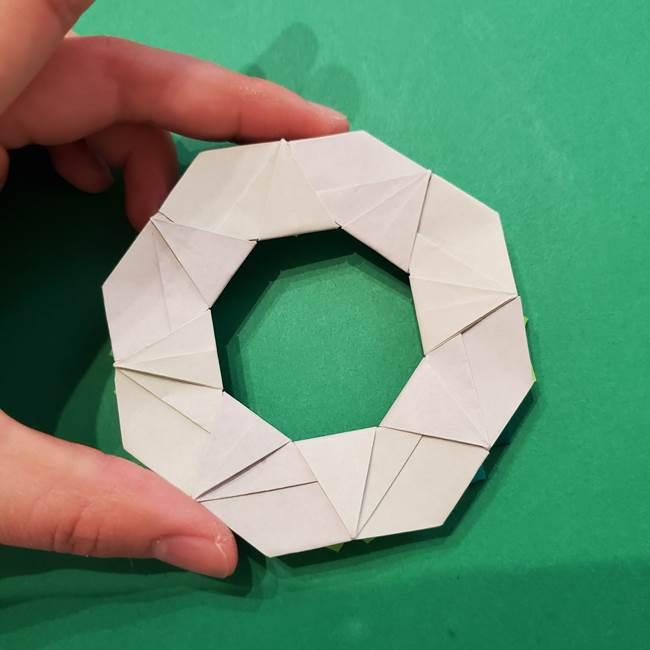 朝顔の折り紙 リースの作り方折り方①土台(61)