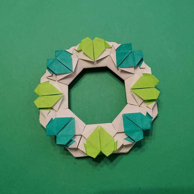 朝顔の折り紙 リースの作り方折り方①土台(62)