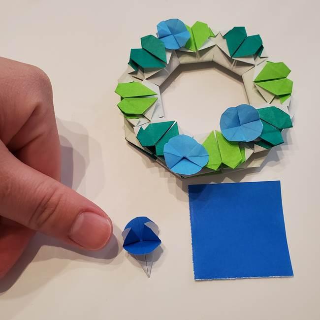 朝顔の折り紙 リースの作り方折り方②花(3)