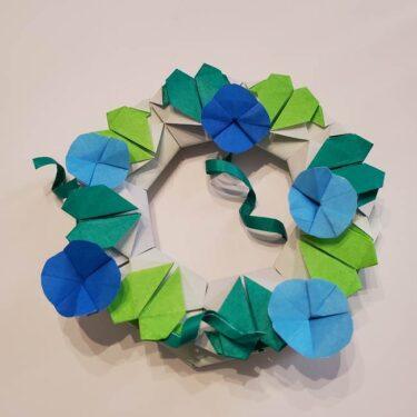 朝顔の折り紙 リースの作り方飾り方☆高齢者の7月壁飾り制作にもオススメ♪