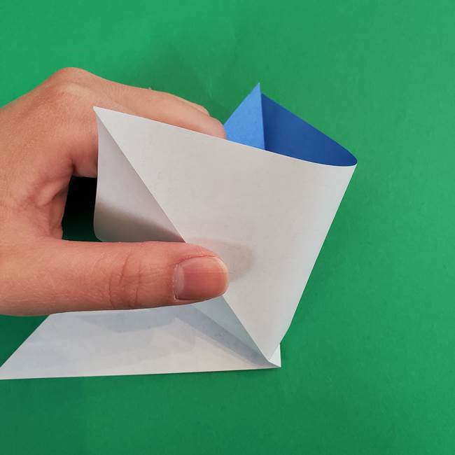 朝顔の折り紙 簡単で子供・幼児もつくれる作り方(4)