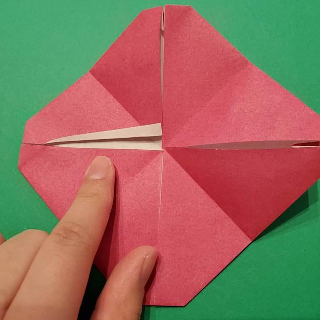 朝顔の折り紙 難しい立体的な折り方作り方(28)