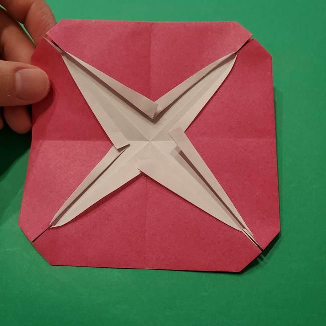 朝顔の折り紙 難しい立体的な折り方作り方(29)