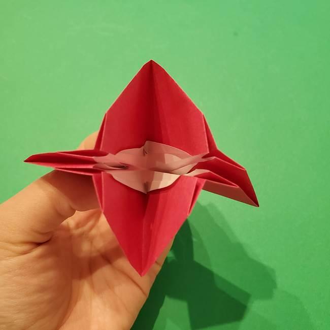 朝顔の折り紙 難しい立体的な折り方作り方(32)