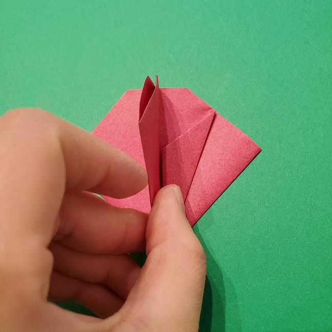 朝顔の折り紙 難しい立体的な折り方作り方(40)