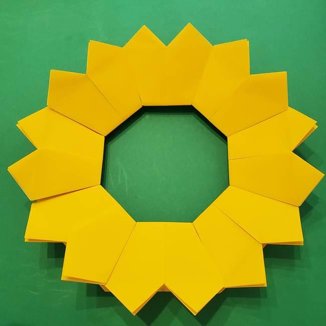 ひまわりの折り紙(8枚の花びら)の折り方作り方③組み合わせ(10)