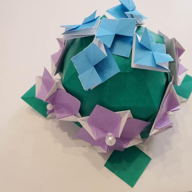 ガクアジサイの折り紙 折り方作り方☆立体的でかわいい梅雨の折り紙!