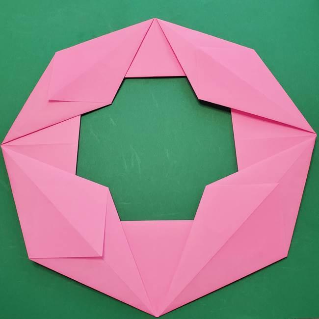 折り紙のひまわりリース①土台の作り方②ひまわりパーツの作り方(1)