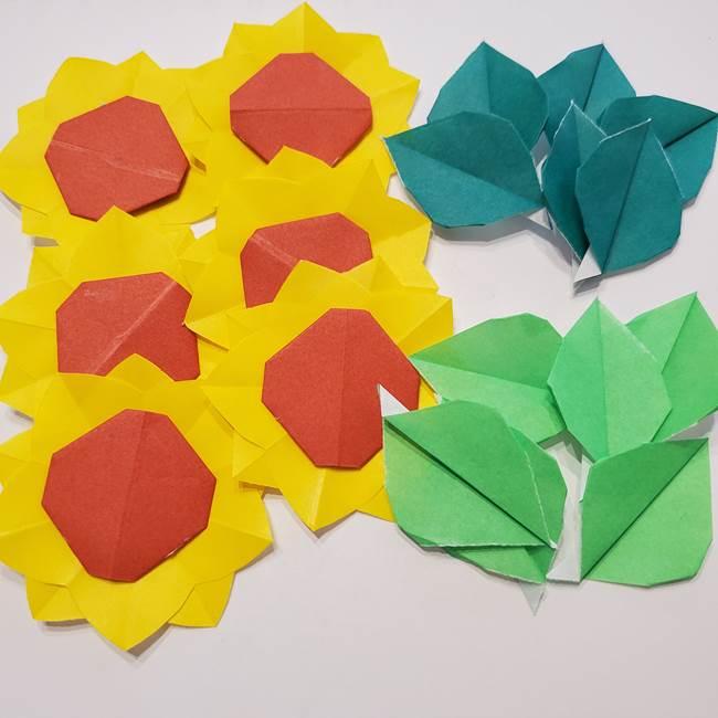 折り紙のひまわりリース①土台の作り方②ひまわりパーツの作り方(2)