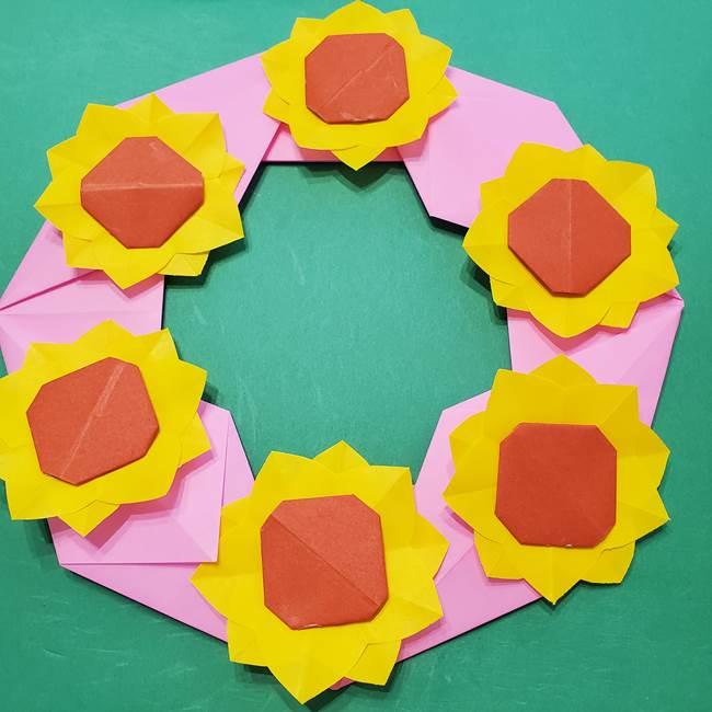 折り紙のひまわりリースの作り方③完成(1)