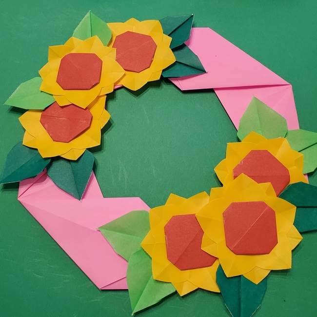 折り紙のひまわりリースの作り方③完成(2)