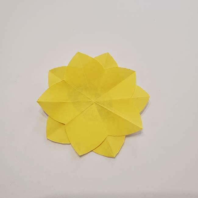 折り紙のひまわり メダルとコースターの折り方作り方①花びら(11)
