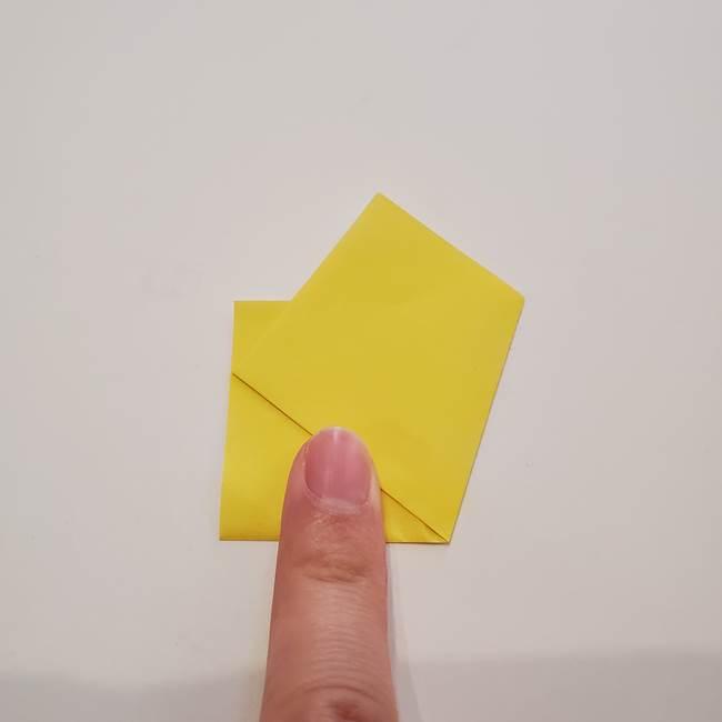 折り紙のひまわり メダルとコースターの折り方作り方①花びら(3)