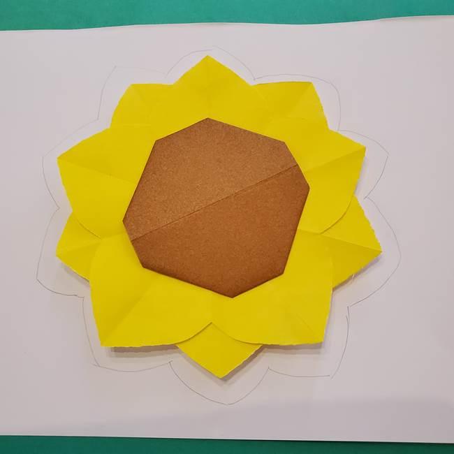 折り紙のひまわり メダルとコースターの折り方作り方③コースター(2)