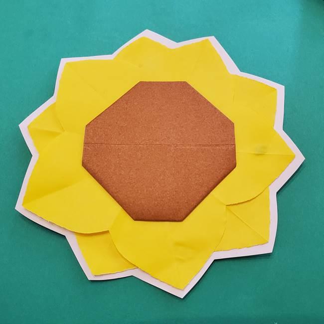 折り紙のひまわり メダルとコースターの折り方作り方③コースター(3)