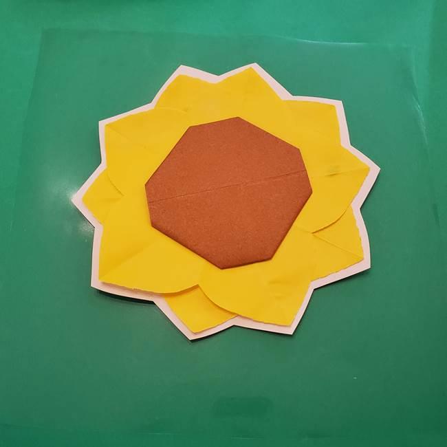 折り紙のひまわり メダルとコースターの折り方作り方③コースター(5)