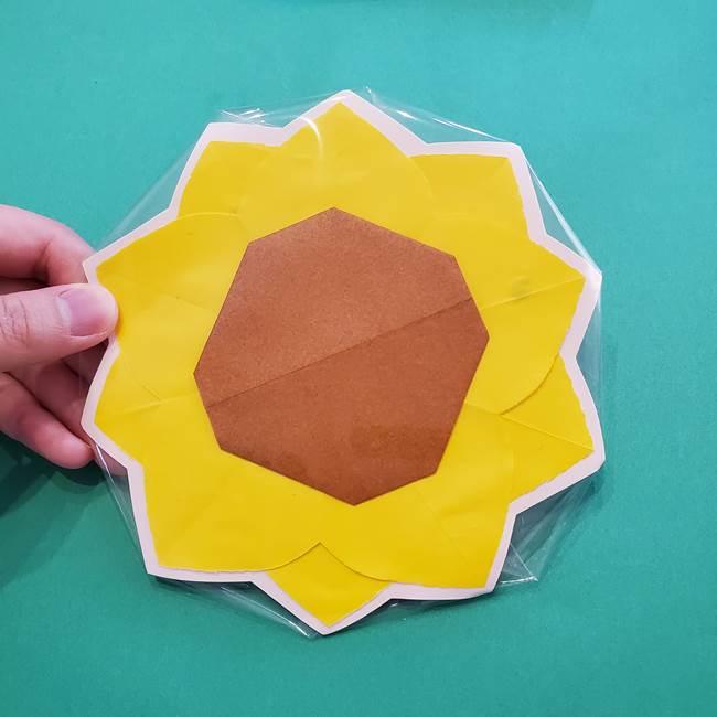 折り紙のひまわり メダルとコースターの折り方作り方③コースター(8)