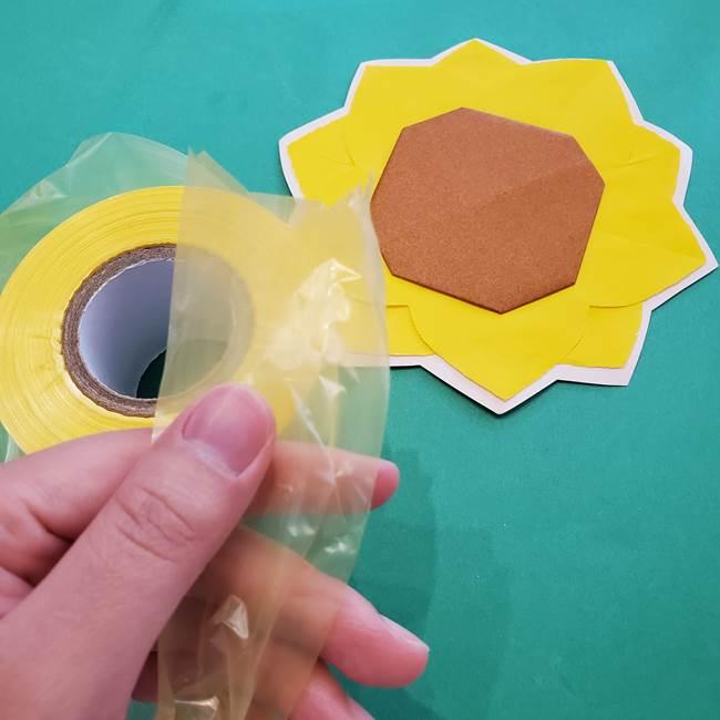 折り紙のひまわり メダルとコースターの折り方作り方④メダル(1)
