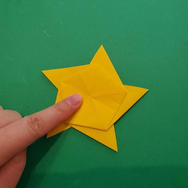 折り紙の星を1枚でつくる難しい作り方折り方②折る(19)