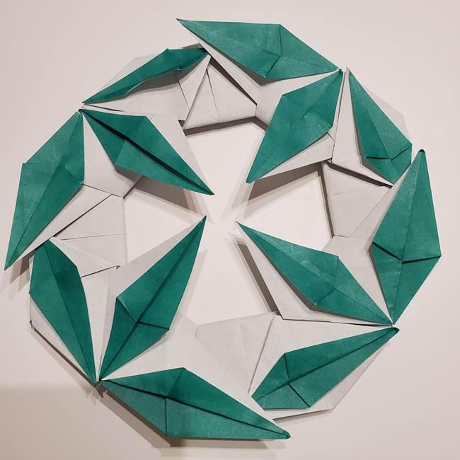 折り紙 笹の葉リースの作り方折り方★七夕に意外と簡単な笹つづり♪