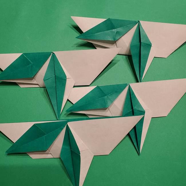 折り紙 笹の葉リース作り方①Aユニットの折り方(34)