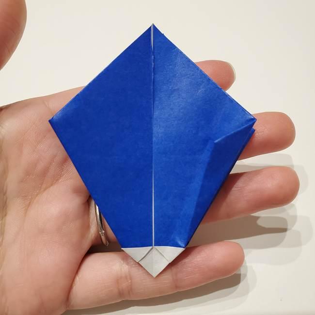 桔梗の花を折り紙一枚で立体的につくる折り方(28)