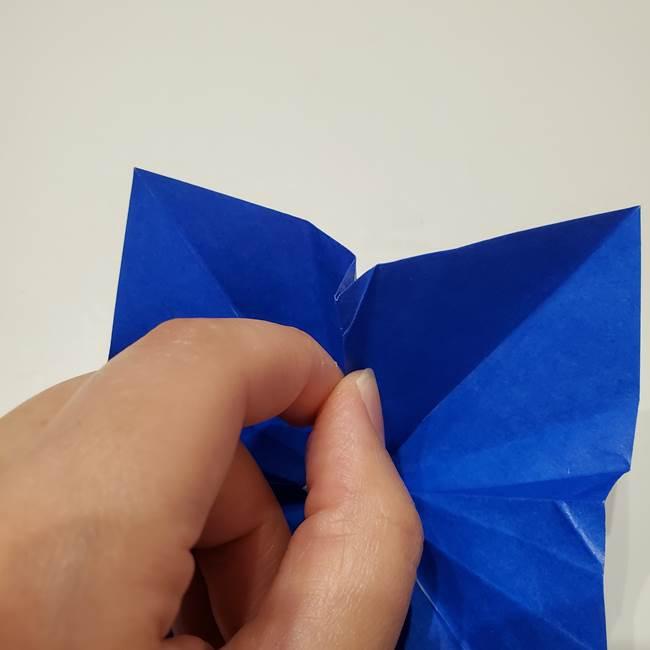 桔梗の花を折り紙一枚で立体的につくる折り方(31)