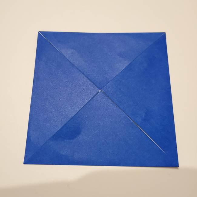 桔梗の花を折り紙一枚で立体的につくる折り方(7)