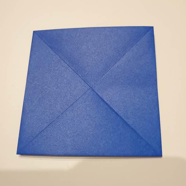 桔梗の花を折り紙一枚で立体的につくる折り方(9)