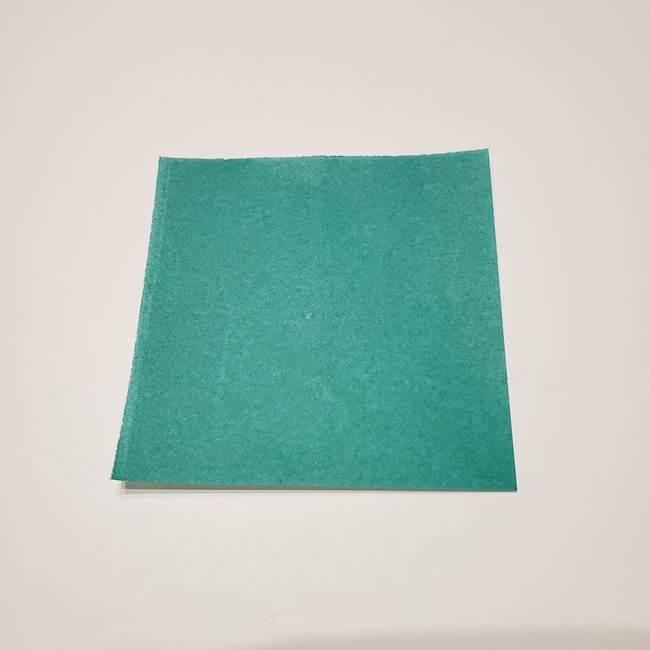 桔梗の葉っぱの折り紙 簡単な折り方作り方①葉っぱ(1)