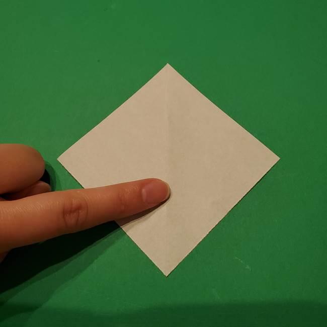 桔梗の葉っぱの折り紙 簡単な折り方作り方①葉っぱ(3)