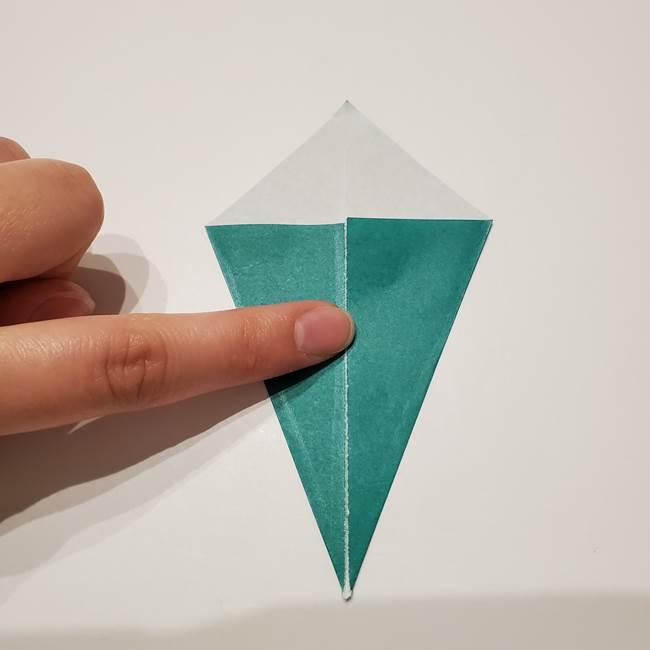 桔梗の葉っぱの折り紙 簡単な折り方作り方①葉っぱ(4)