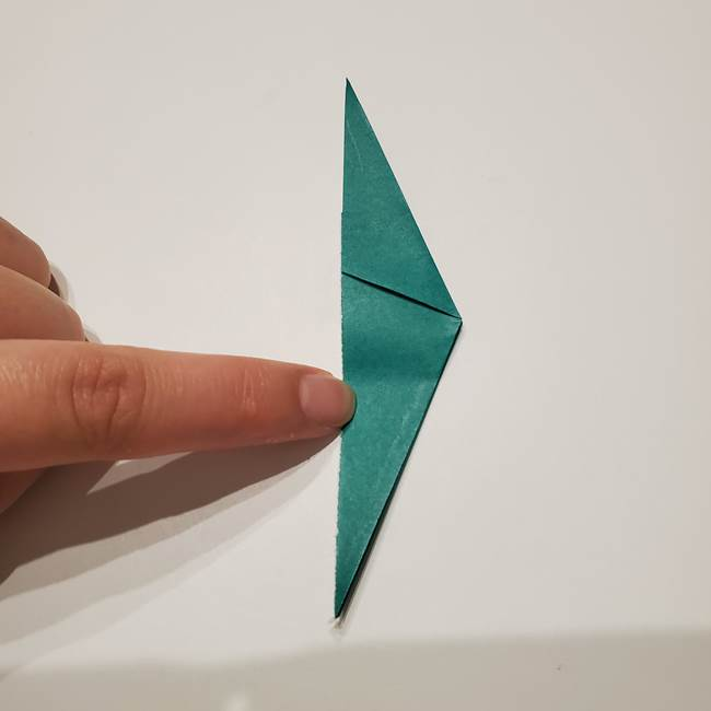 桔梗の葉っぱの折り紙 簡単な折り方作り方①葉っぱ(6)