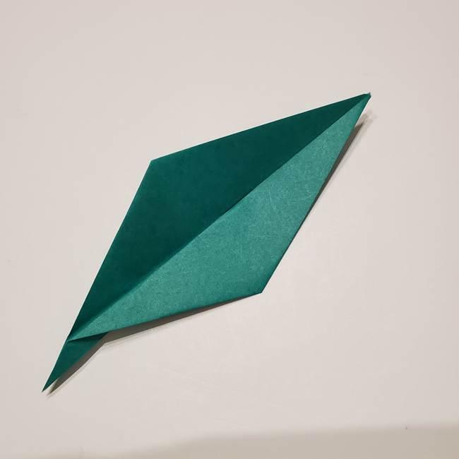 桔梗の葉っぱの折り紙 簡単な折り方作り方①葉っぱ(9)