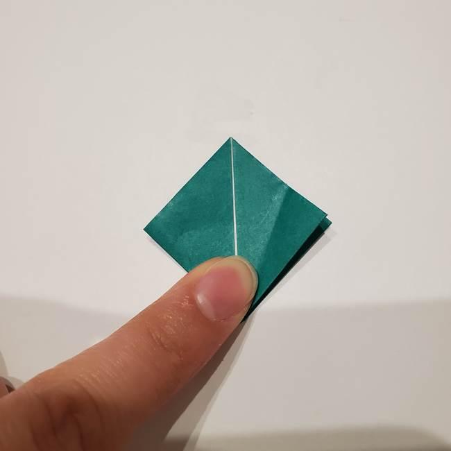 桔梗の葉っぱの折り紙 簡単な折り方作り方②ガク(16)