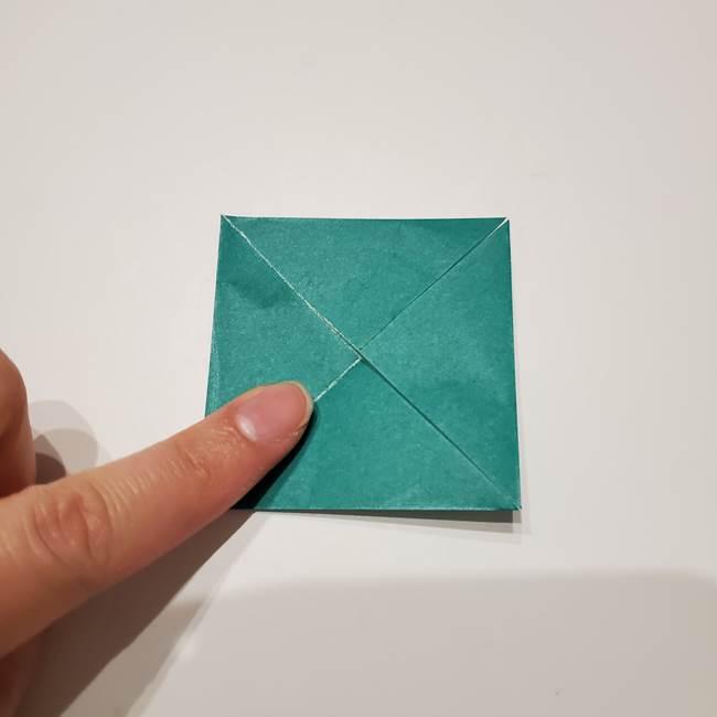 桔梗の葉っぱの折り紙 簡単な折り方作り方②ガク(7)