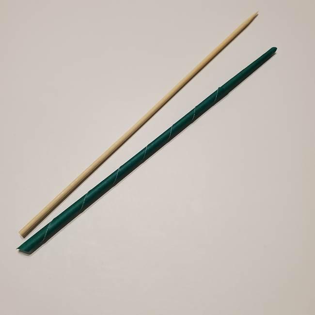 桔梗の葉っぱの折り紙 簡単な折り方作り方③茎(4)