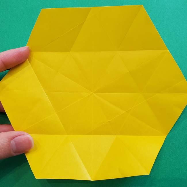 水仙の折り紙 平面の折り方作り方②花(10)