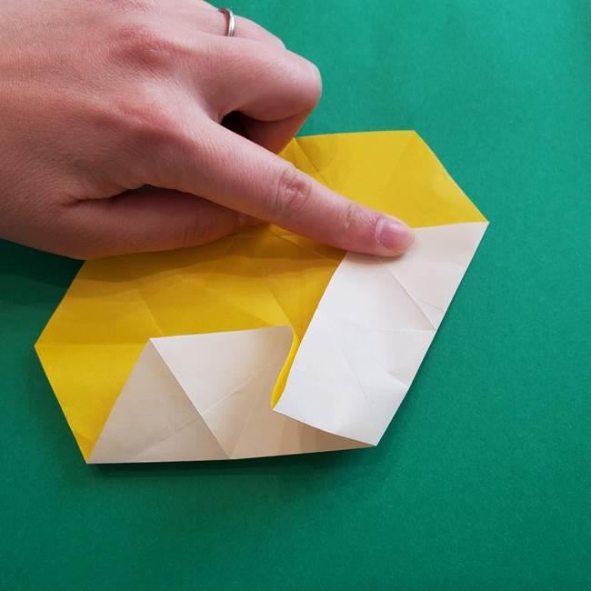 水仙の折り紙 平面の折り方作り方②花(17)